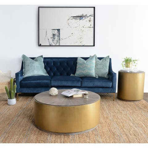 Salsbury Antique Gold Reclaimed Wood Coffee Table by Kosas Home - 16h x 39w x 39d