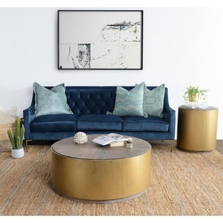 Link to Salsbury Antique Gold Reclaimed Wood Coffee Table by Kosas Home - 16h x 39w x 39d Similar Items in Living Room Furniture