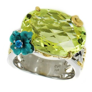 Michael Valitutti Palladium Silver Ouro Verde, Turquoise Flower, Neon Apatite and Blue Sapphire Ring
