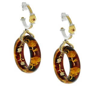 Michael Valitutti Palladium Silver Carved Amber Flower and Orange Sapphire Earrings