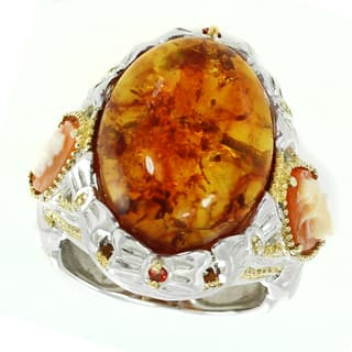 Michael Valitutti Palladium Silver Amber, Cameo and Orange Sapphire Ring|https://ak1.ostkcdn.com/images/products/13928306/P20560966.jpg?impolicy=medium