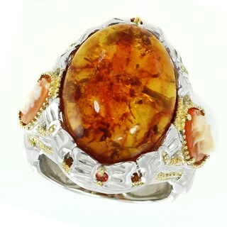 Michael Valitutti Palladium Silver Amber, Cameo and Orange Sapphire Ring