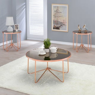 Acme Furniture Alivia Rose Gold Metal and Glass Accent Tables