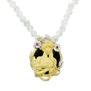 Michael Valitutti Palladium Silver Black Onyx and Ruby Lady Pendant with White Quartz Bead