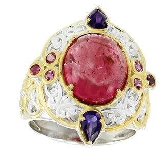 Michael Valitutti Palladium Silver Pink Tourmaline and Amethyst Ring
