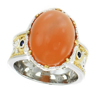 Michael Valitutti Palladium Silver Peach Moonstone and Blue Sapphire Ring