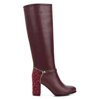 Rosewand Women's Flores Faux Leather Rhinestone Boots