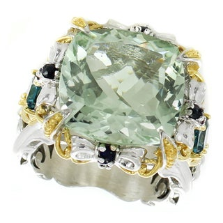 Michael Valitutti Palladium Silver Cushion Green Amethyst, London Blue Topaz and Blue Sapphire Ring