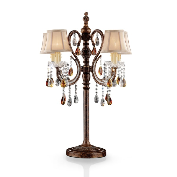 Furniture of America Sabrina Traditional Bell Shaped Brown Table Lamp