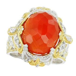 Michael Valitutti Palladium Silver Carnelian and White Sapphire Ring