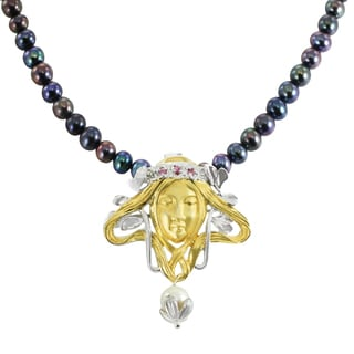 Michael Valitutti Palladium Silver Pink Sapphire Lady Face Pendant with Peacock Pearl