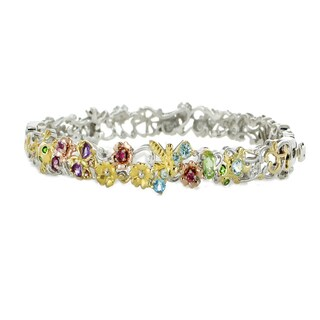 Michael Valitutti Palladium Silver Multi Gemstone Flower & Butterfly Bangle Bracelet