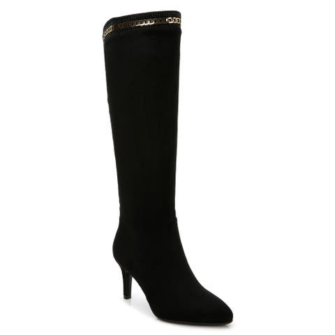Rosewand Women's Tunita Black Faux-suede Rhinestone Glittering Boots