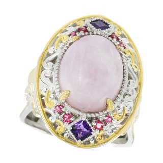 Michael Valitutti Palladium Silver Kunzite, Amethyst and Pink Sapphire Ring