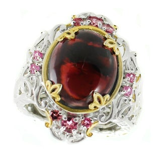 Michael Valitutti Palladium Silver Oval Rhodolite, Pink Tourmaline and Sapphire Ring