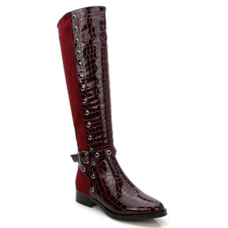 Rosewand Women's Rucio 2-tone Burgundy Faux Leather Perforated Trim Boots