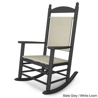 POLYWOOD® Jefferson Outdoor Woven Rocking Chair (slate grey/white loom)
