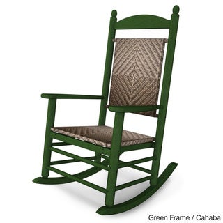 POLYWOOD® Jefferson Outdoor Woven Rocking Chair (green frame/cahaba)