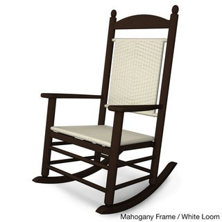 POLYWOOD® Jefferson Outdoor Woven Rocking Chair (mahogany frame/white loom)