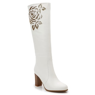 Rosewand Women's 'Bolsa' White Faux Leather Patterned Stitch Glittering Boots
