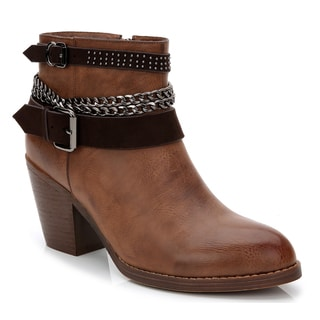 Rosewand Women's Sabin Brown Faux-leather Chain-link Buckle Straps Booties