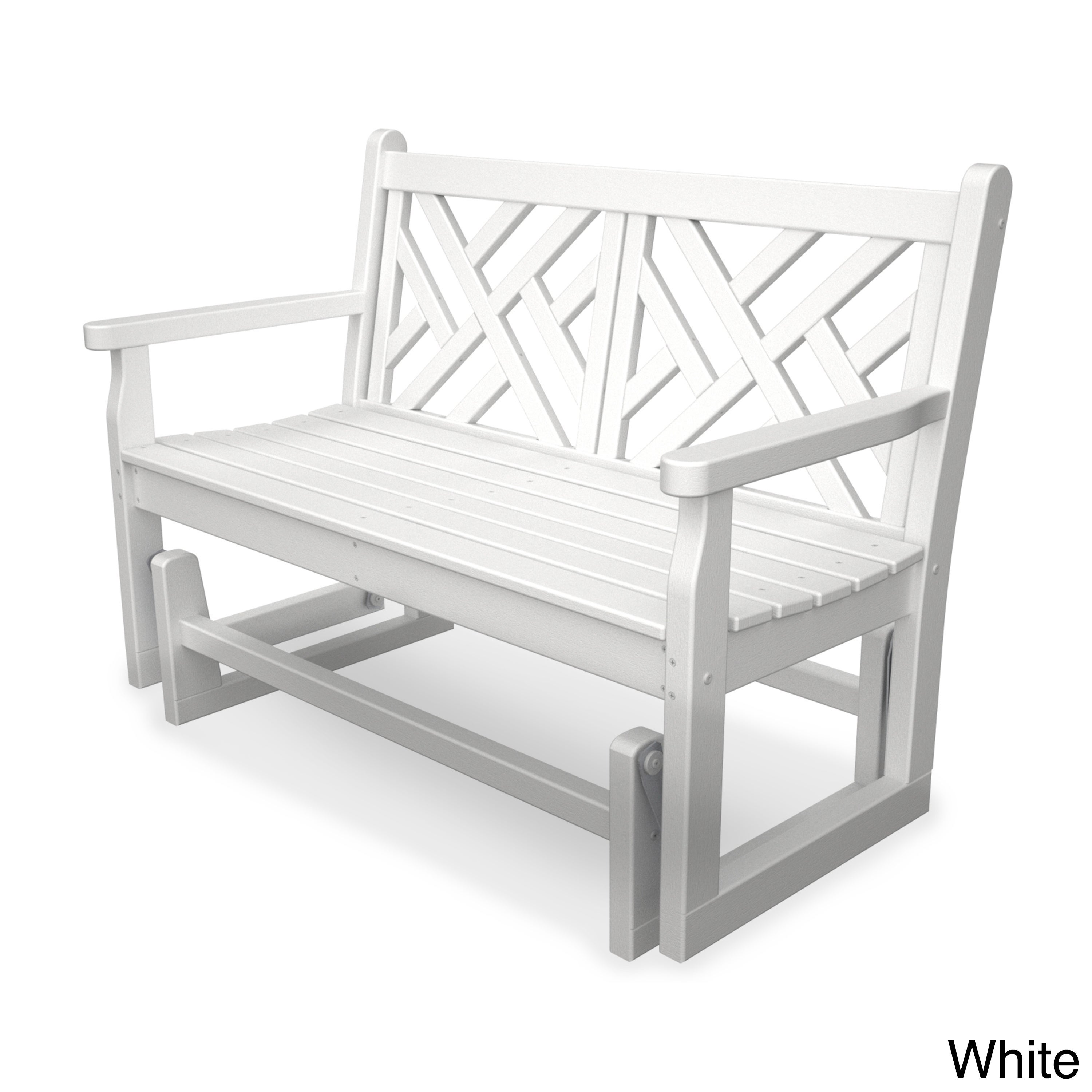 Chippendale Polywood Glider Bench (White), Patio Furnitur...