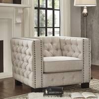 Knightsbridge Beige Linen Tufted Fabric Nailhead Chair by iNSPIRE Q Artisan