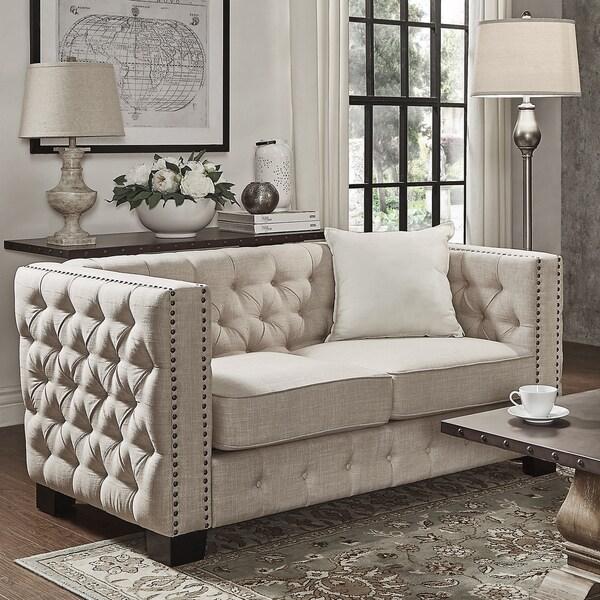 Living Room Furniture Loveseats Knightsbridge Beige Linen Tufted Fabric Nailhead Loveseat By Inspire Q