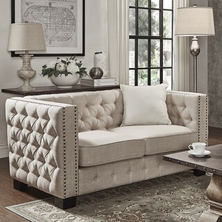 Knightsbridge Beige Linen Tufted Fabric Nailhead Loveseat by iNSPIRE Q Artisan