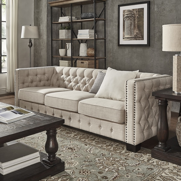 Paris Transitional Tufted White Leather Sectional Sofa: Tufted Nailhead Sofa Meridian Furniture 609grey L Lucas