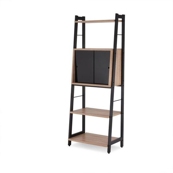 Attirant Acme Furniture Finis Leaning Bookshelf With Sliding Door Cabinet