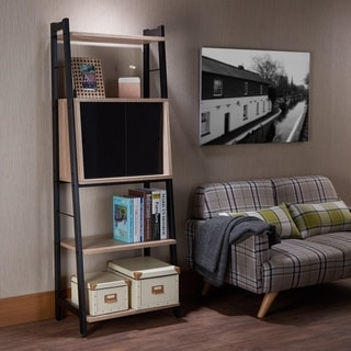 Acme Furniture Finis Leaning Bookshelf with Sliding Door Cabinet