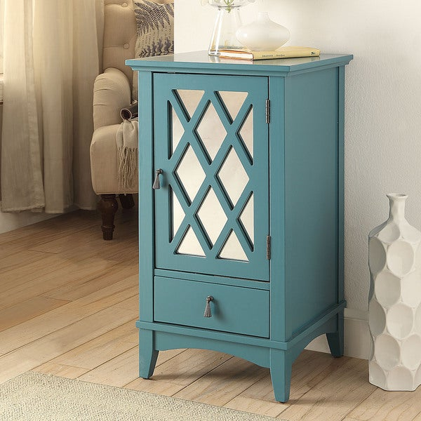 Shop Acme Furniture Ceara Teal Mirrored Accent Storage