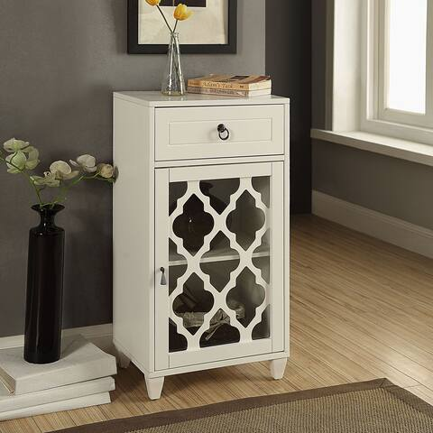 Acme Furniture Ceara White Mirrored Accent Storage Table