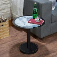 Acme Furniture Boli Black Metal and Leather Side Table With Map Glass Top