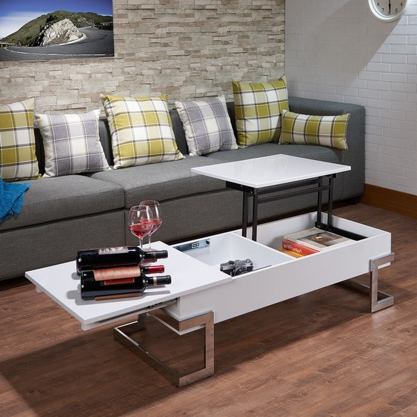 Modern Wood Coffee Table: Shop Acme Furniture Calnan White Wood And Chrome Metal