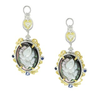 Michael Valitutti Palladium Silver Tahitian Shell, Tanzanite and Blue Sapphire Earrings