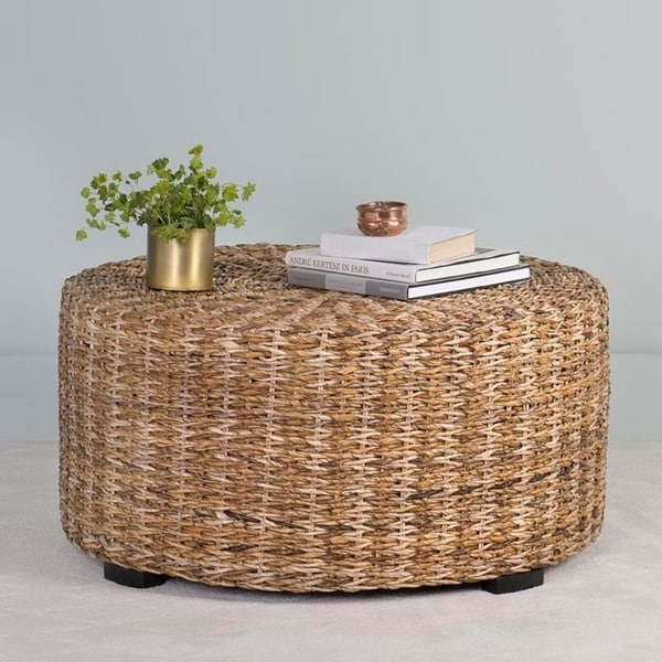 Bon East At Mainu0026#x27;s Langdon Brown Round Abaca Coffee Table