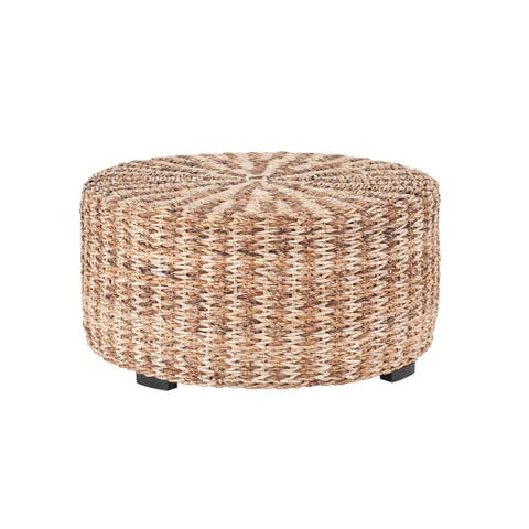 East At Main S Langdon Brown Round Abaca Coffee Table