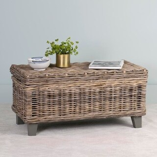 East At Mainu0027s Hayward Brown Rectangular Rattan Coffee Table