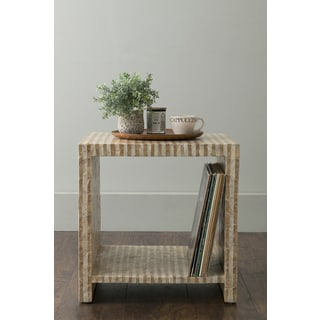 East At Main's Akron Gold Square Engineered Wood and Capiz Accent Table
