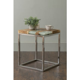 East At Main's Farrell Brown Square Teakwood Accent Table