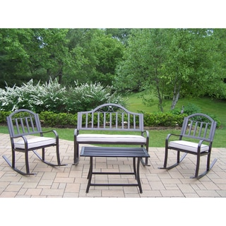 Hometown 4-piece Outdoor Seating Set with Oatmeal Colored Cushions