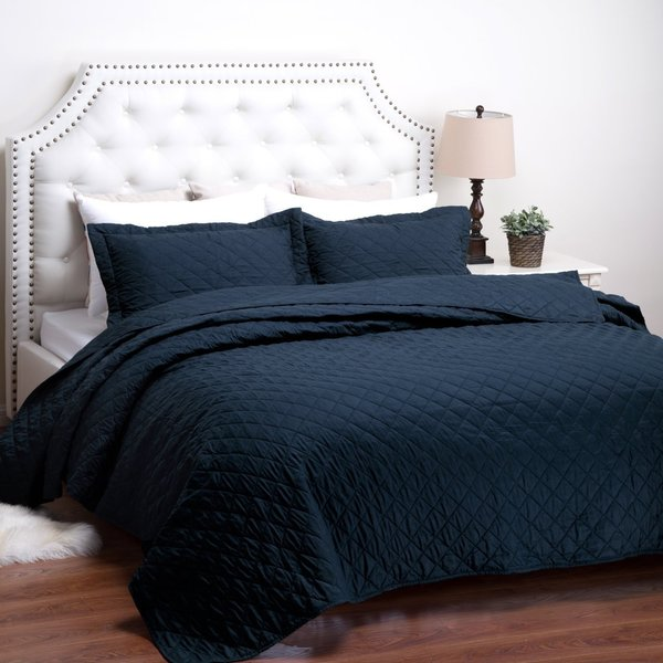Bedsure Dominique Diamond Pattern Solid Textured Quilt Set with Shams