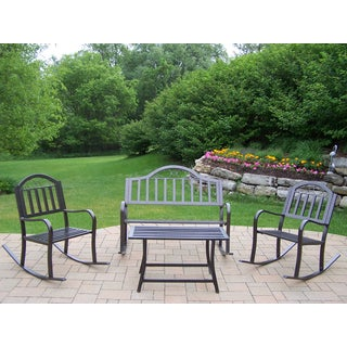 Hometown 4-Piece Outdoor Seating Set with Rocking Bench, 2 Rocking Chairs and End Table