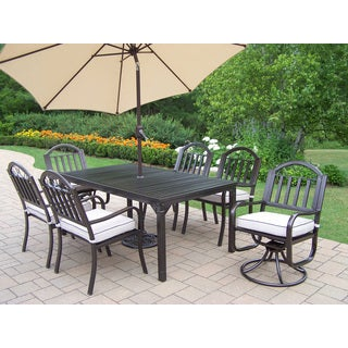 Hometown 9-piece Dining Set with Cushions, Beige Umbrella and Stand