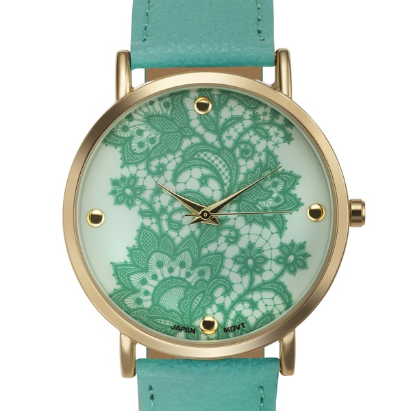 Rousseau Lace Genuine Leather Strap Lace Print Dial Womens Watch