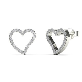 Aalilly 10k White Gold 1/6ct TDW Diamond Adorable Heart Stud Earrings