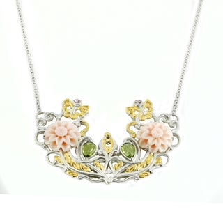 Michael Valitutti Palladium Silver Carved Flower Conch Shell, Pink Sapphire and Peridot Necklace
