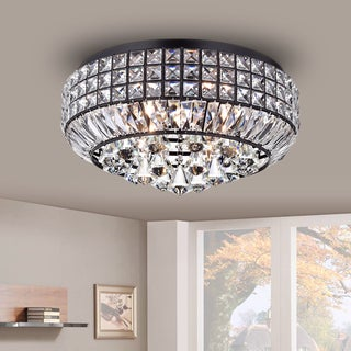Pamarin Round Crystal Antique Black Flush Mount Ceiling Light